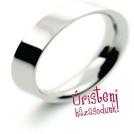 4 mm széles, fehér, kívül lapos, belül domború, klasszikus karikagyűrű