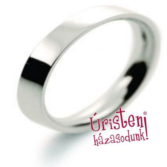 3 mm széles, fehér, kívül lapos, belül domború, klasszikus karikagyűrű