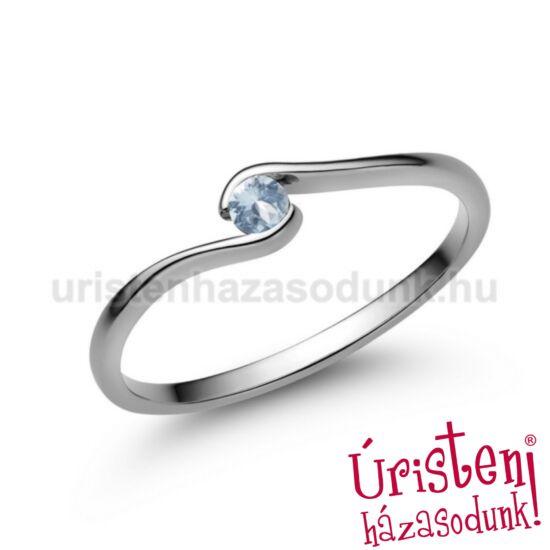 E105FK - AKVAMARIN fehér arany Eljegyzési Gyűrű