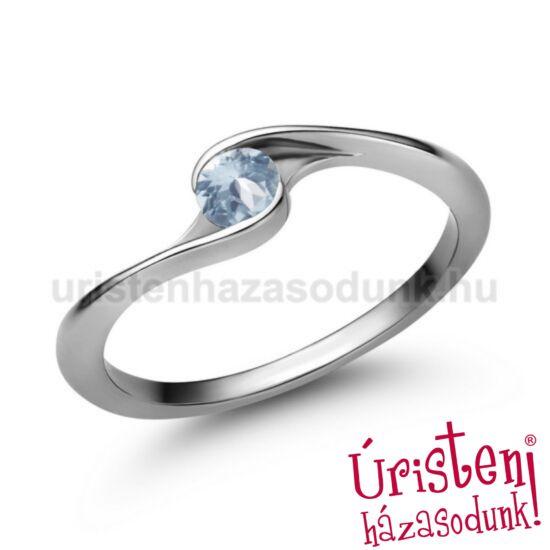 E106FK - AKVAMARIN fehér arany Eljegyzési Gyűrű