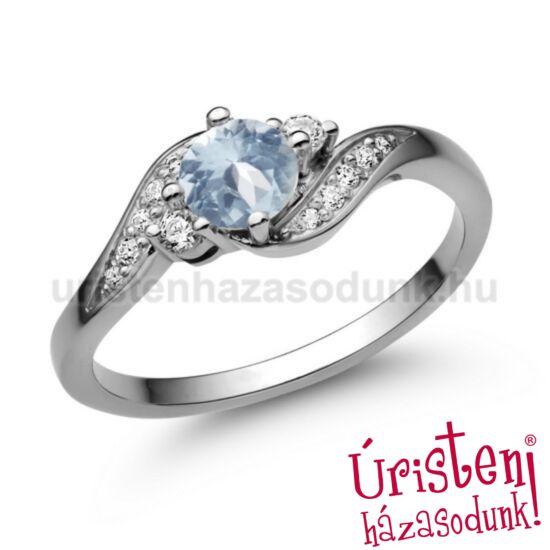 E107FK_C - AKVAMARIN - CIRKÓNIA fehér arany Eljegyzési Gyűrű