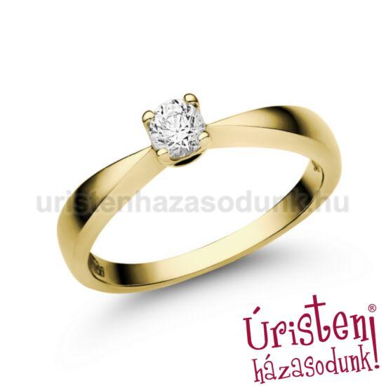 E2SC - CIRKÓNIA köves sárga arany Eljegyzési Gyűrű
